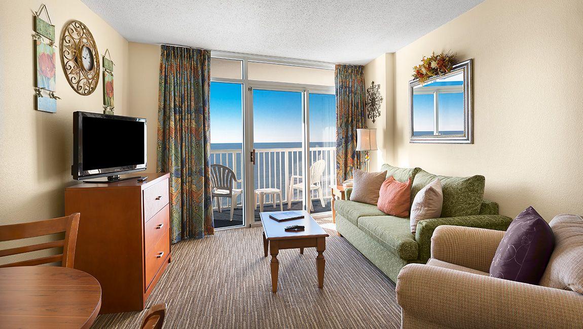 Oceanfront One Bedroom Doubles Living
