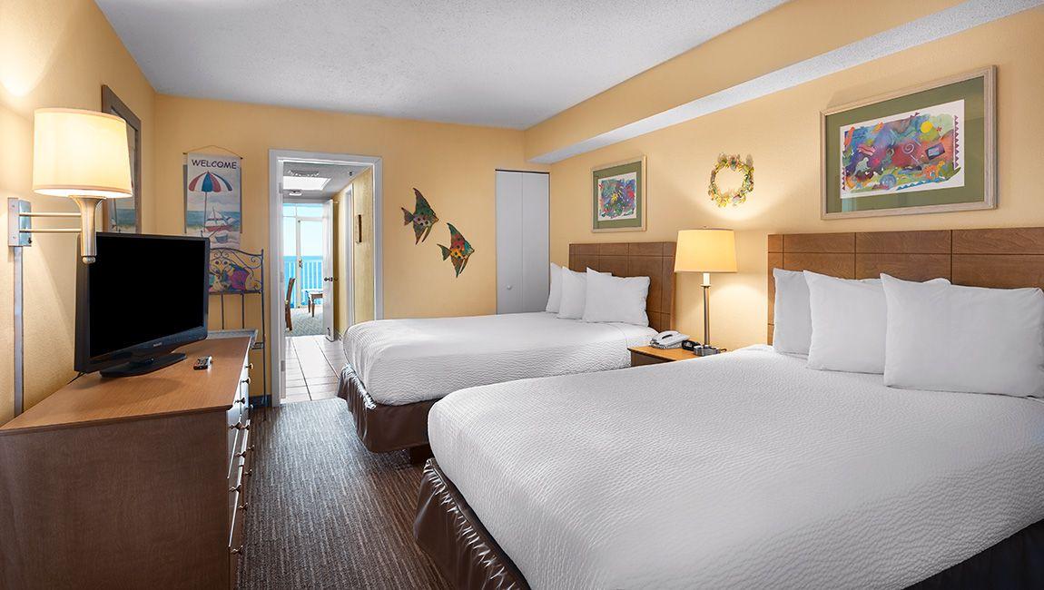 Oceanfront One Bedroom Doubles Bedroom